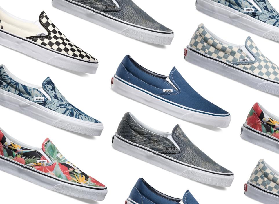 Plusieurs modèles des Vans Slip-On, la fameuse chaussure portée par Sean Penn dans Fats times at Ridgemont High.